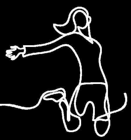 Zeichnung einer Frau, die nach Anwendung der Grinberg Methode energiegeladen in die Luft springt